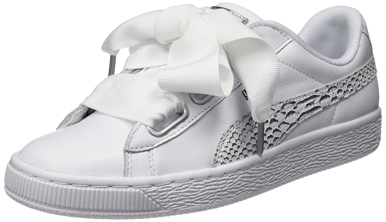 Puma Basket Heart Oceanaire Wn's, Zapatillas para Mujer 39 EU|Blanco (Puma White-puma White)