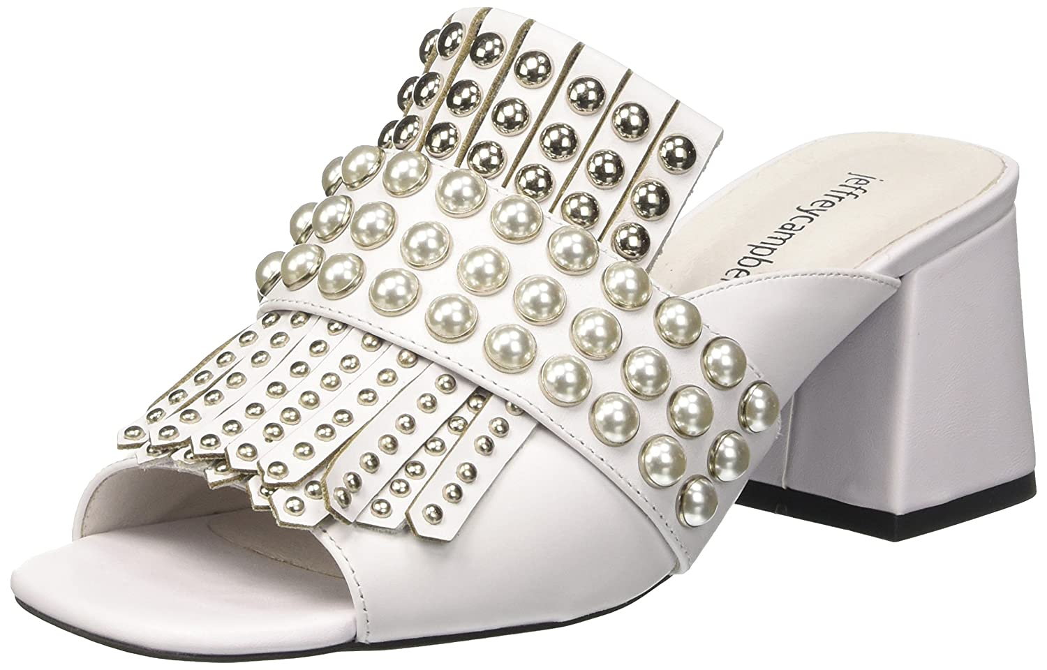 Jeffrey Campbell 8-Lenoir St, Scarpe col Tacco Punta Aperta Donna Bianco (Leather White Silver 001)