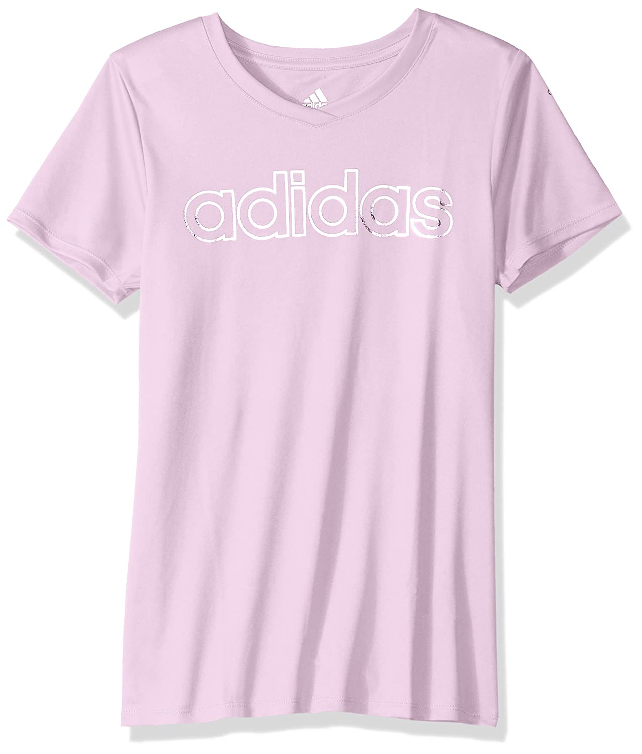 920847a27cf The climalite v-neck tee features short sleeves and lapped v-neck. Screen  printed silver foil linear Adidas across chest and foil Adidas brand mark  on left ...