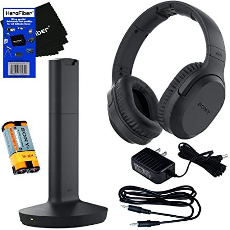 Sony MDRRF995RK Wireless RF Radio Frequency Headphone with Transmitter Base Station Stereo Connecting Cable AC adaptor HeroFiber Ultra Gentle Cleaning Cloth