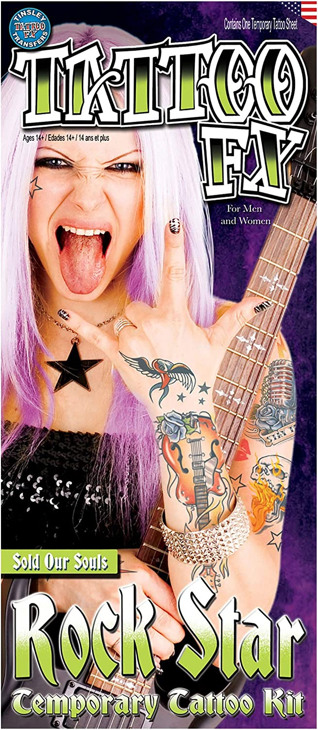 """Tinsley Rock Star Sold Our Souls 6pc Temporary Tattoo FX Costume Kit, 11.75"""""""