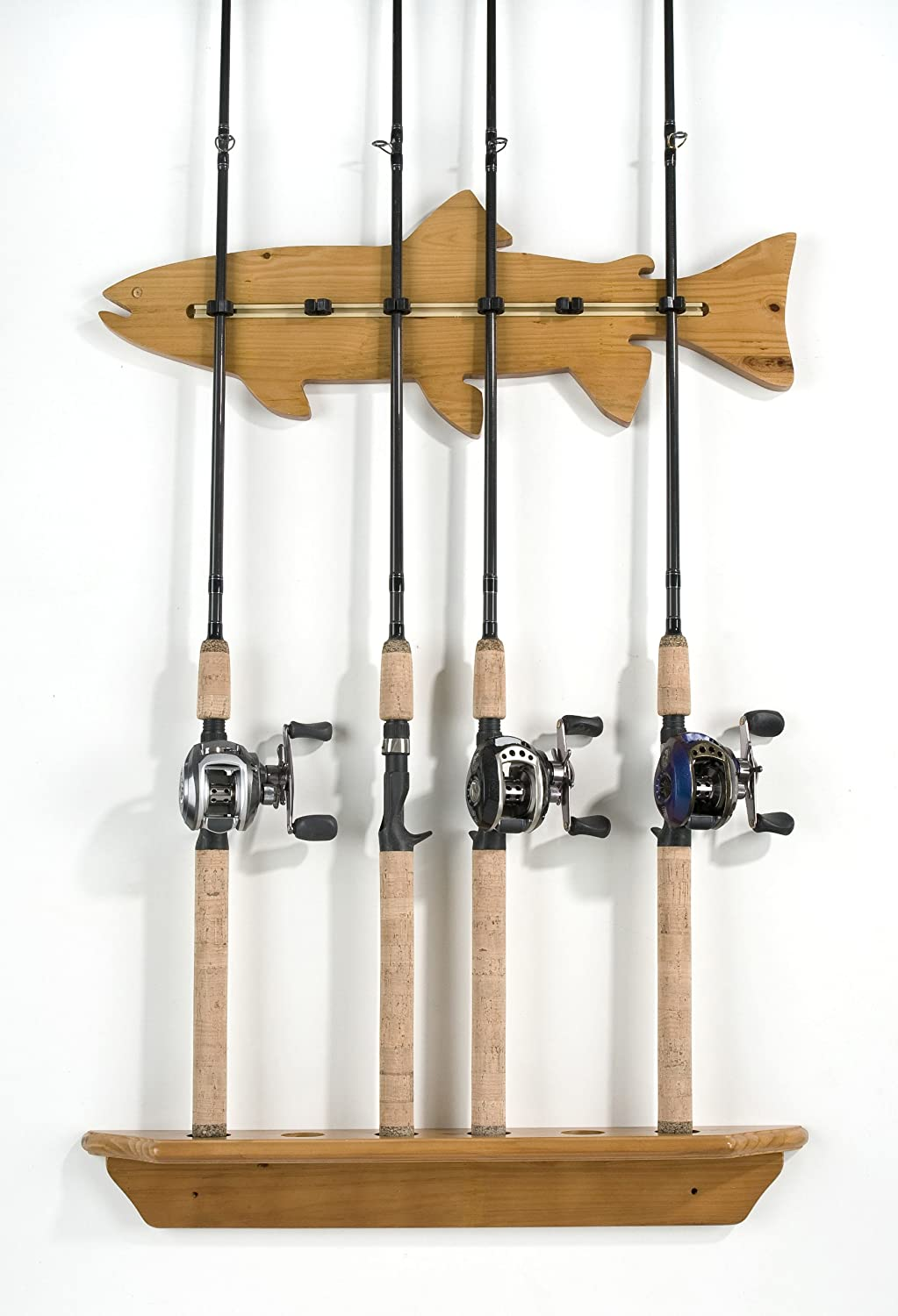 Organized Fishing Fish Wall Rack for Fishing Rod Storage, Holds up to 6 Fishing Rods, Oak Finish, FWR-006