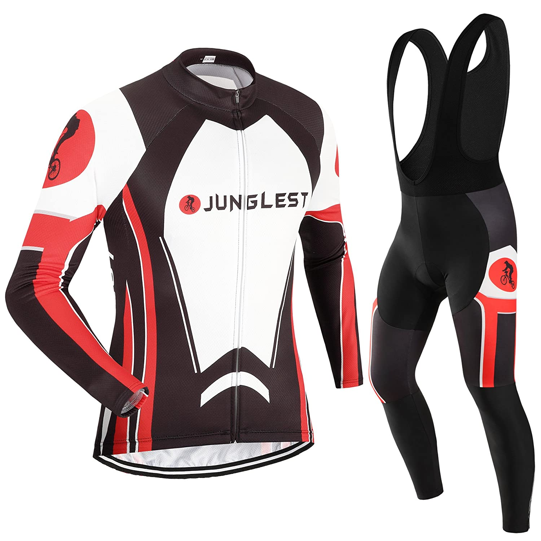 Cycling Jersey Set Wen長袖(S ~ 5 X L、オプション:よだれかけ、3dパッド) n32 5XL (3D pad)(191-198cm/103-115kg) タイプ:セット(フリース&ブラックビブ) B00TLPUQ8G