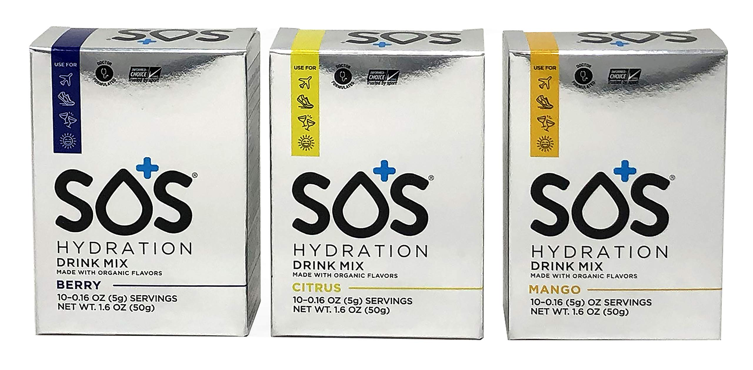 SOS Hydration Variety Pack of 30 Single Serve Packs - Citrus, Mango, and Berry Hydration