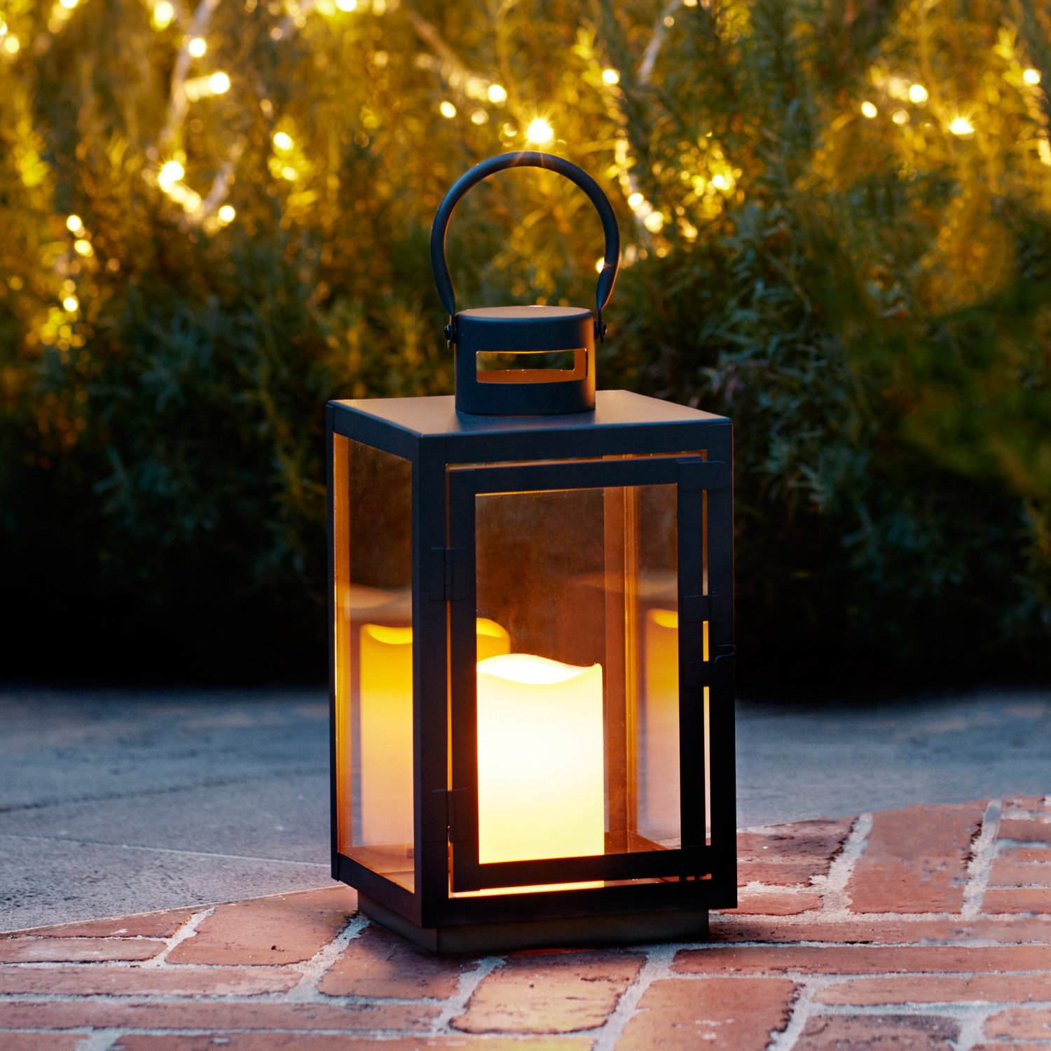 Lights4fun, Inc. Black Metal Battery Operated Fully Weatherproof Outdoor LED Garden & Patio Flameless Candle Lantern