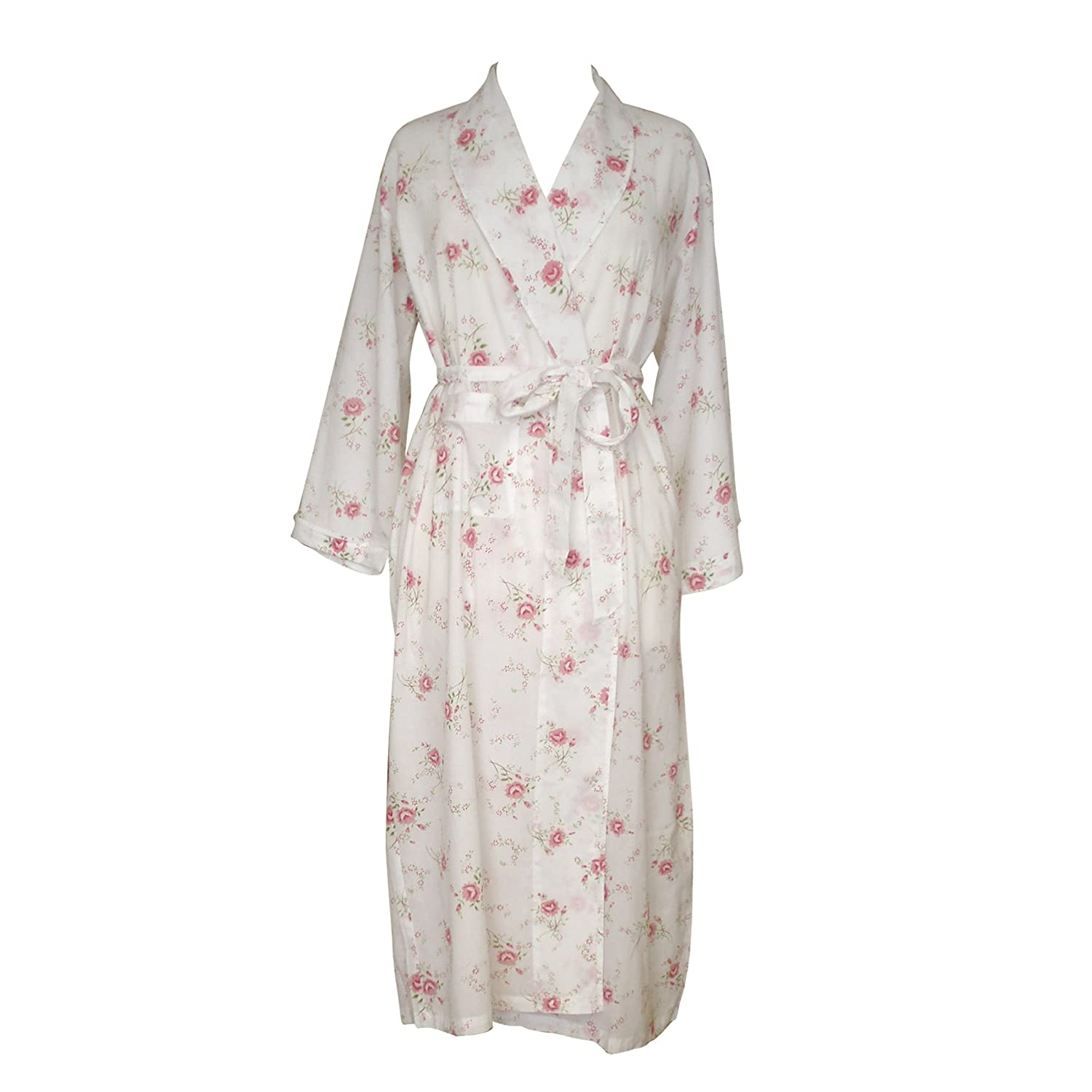 The Irish Linen Store Womens Katie Cotton Rose Floral Robe Medium ...