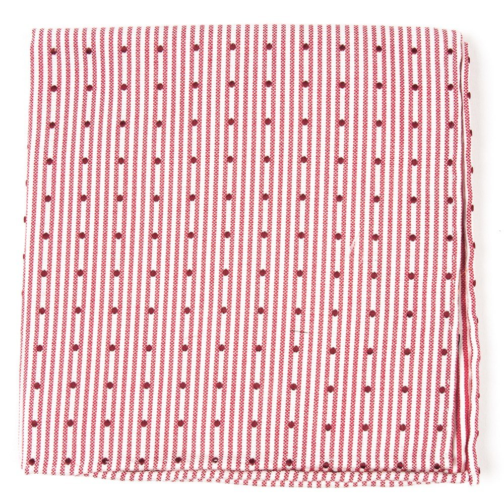The Tie Bar 20/% Cotton//80/% Silk Down The Aisle Dots Red Pocket Square