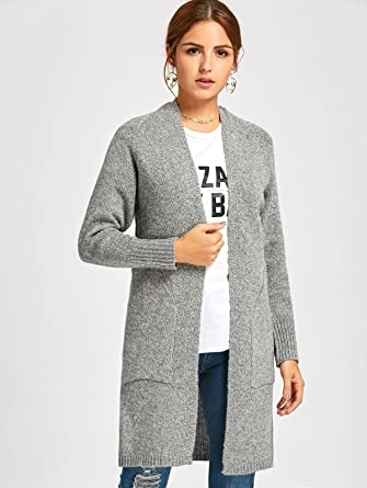 93bebc32f7165f Bflive Womens Solid Stretch Long Sleeve Open Front Pocket Casual Cardigan  (Light Gray)