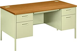 "product image for HON Metro Classic Double Pedestal Desk - 2 Box Drawers with 2 File Drawers, 60"" W, Harvest & Putty (HP3262)"