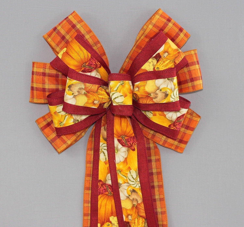 Festive Gourd Fall Plaid Wreath Bow - 10