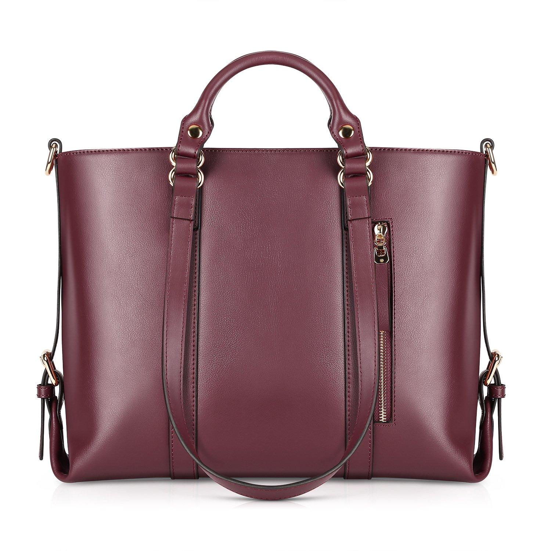 Kattee Urban Style 3-Way Women's Genuine Leather Shoulder Tote Bag, Red