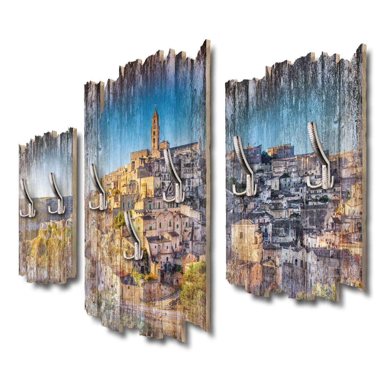 Kreative Feder Matera Panorama Designer Wandgarderobe Flurgarderobe Wandpaneele 95 x 60 cm aus MDF DTGH074