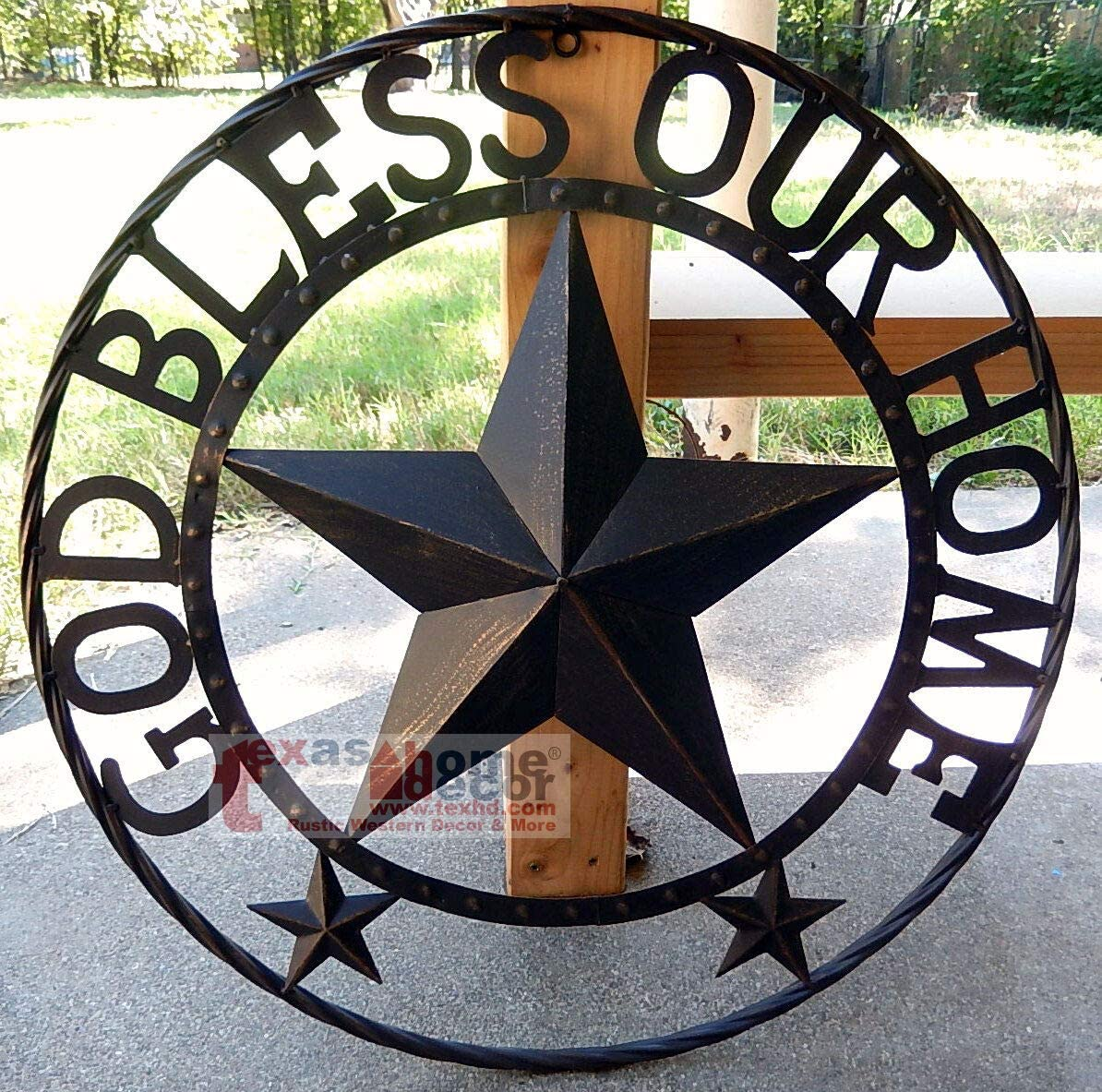 Wall Sign Vintage Antique Style GOD Bless Our Home Metal Barn Star Rustic Brown Texas Rope Ring Wall Decor 24""