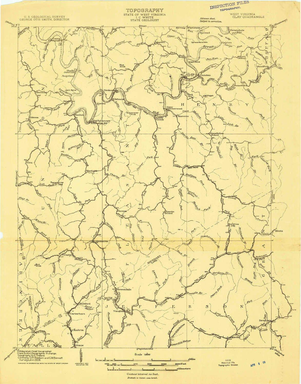 Topographic Map West Virginia.Amazon Com Yellowmaps Clay Wv Topo Map 1 48000 Scale 15 X 15