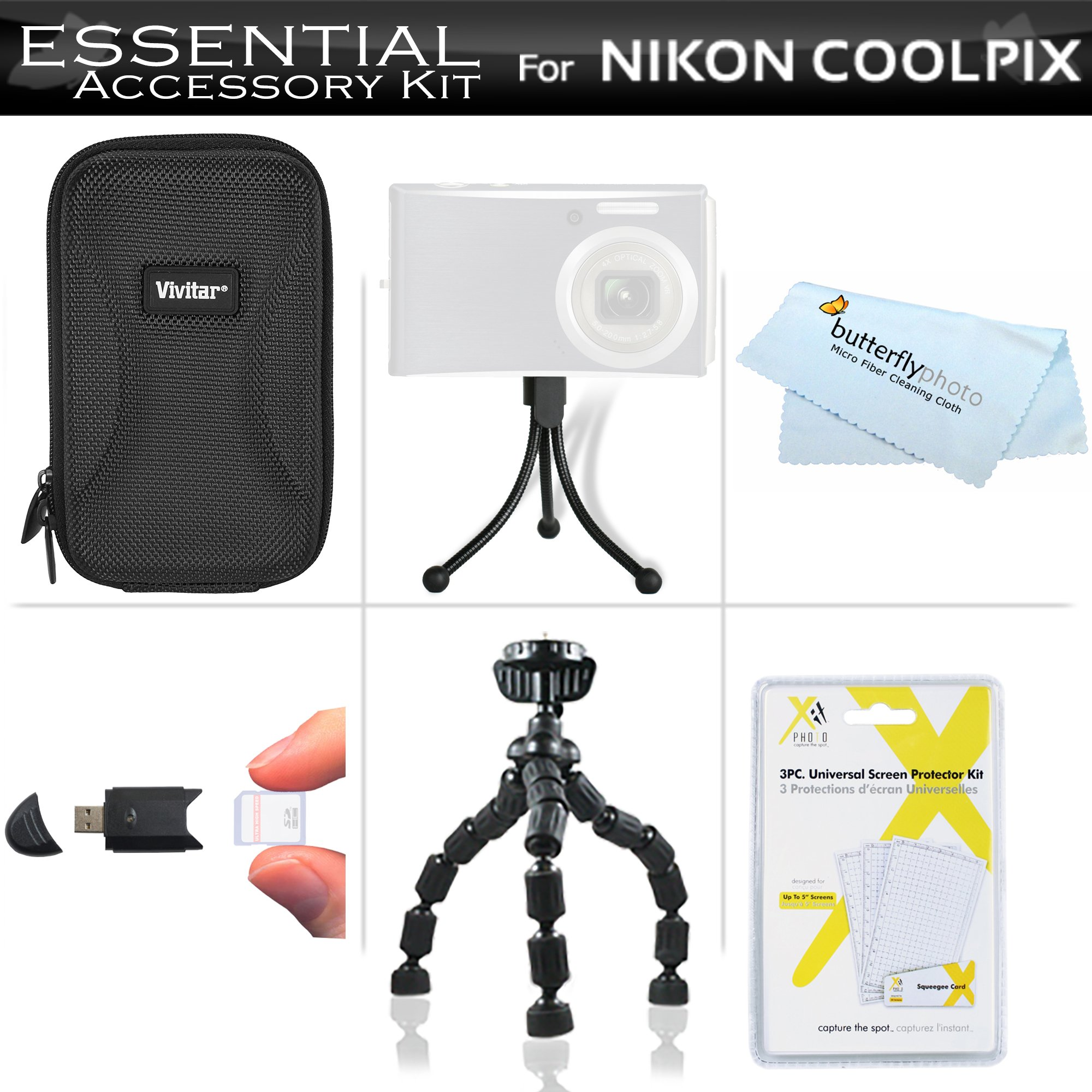 Essential Accessory Kit For Nikon COOLPIX S3700, S2900, S33, S7000, S6900, S3500, S6400, S3100, S4100, S100, S4300, S3300 Digital Camera Includes Hard Case + USB 2.0 High Speed Card Reader + LCD Screen Protectors + Gripster Flexible Tripod + More