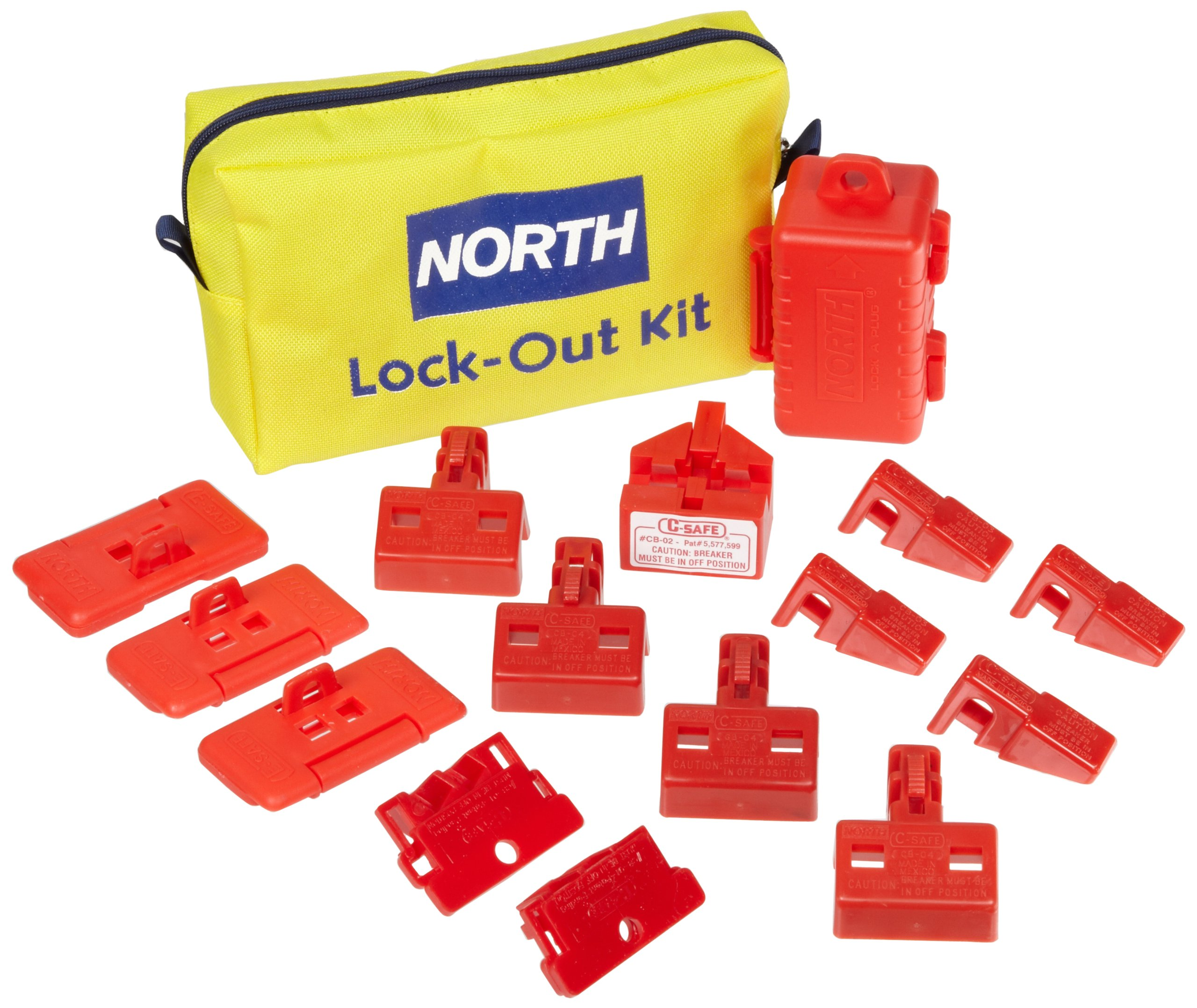 North Safety Electrical Breaker Lockout Pouch Kit, 16 Pieces