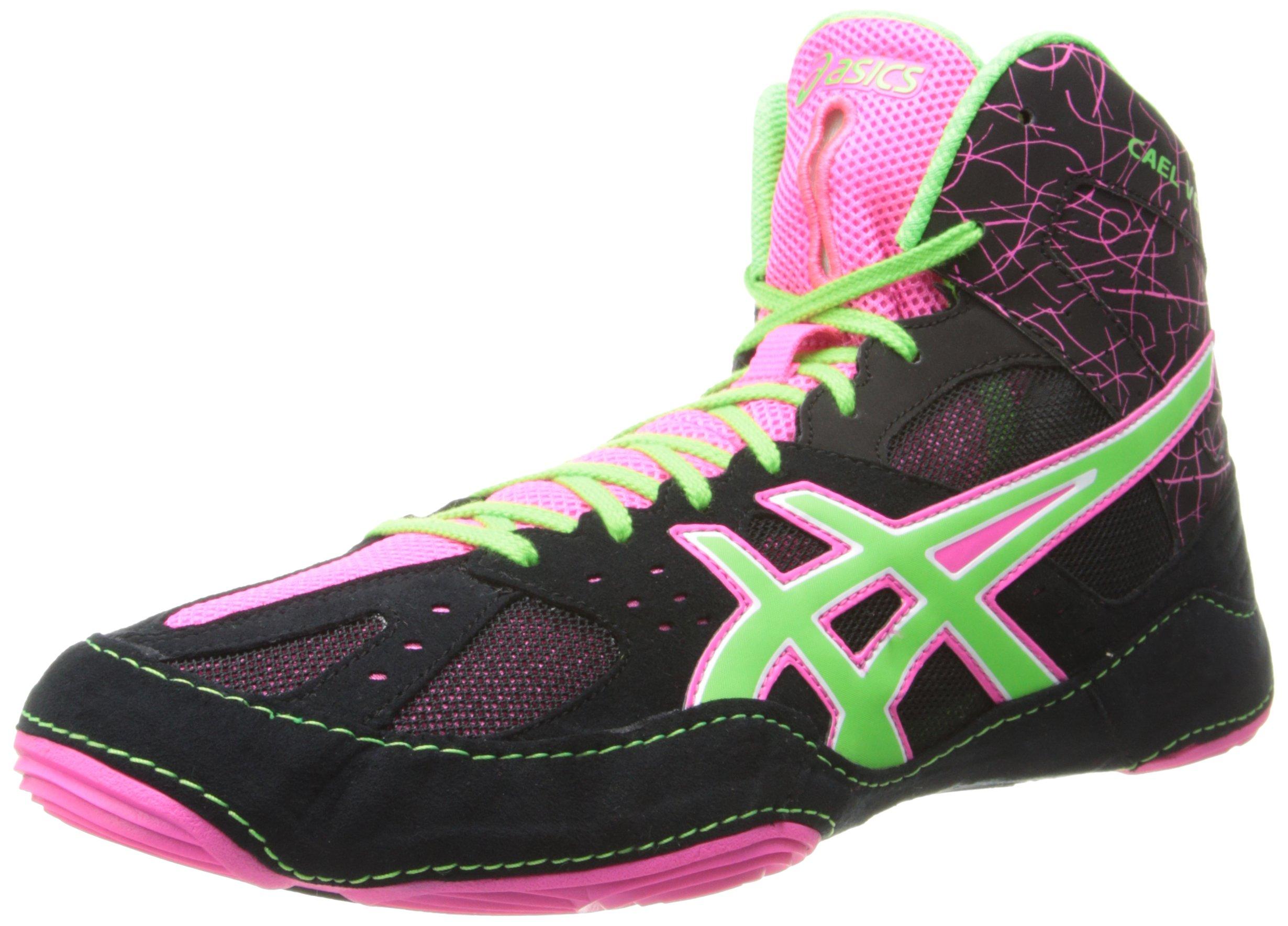 Asics Men's Cael V6.0 Wrestling Shoe,Black/Green Gecko/Knockout Pink,8 M US