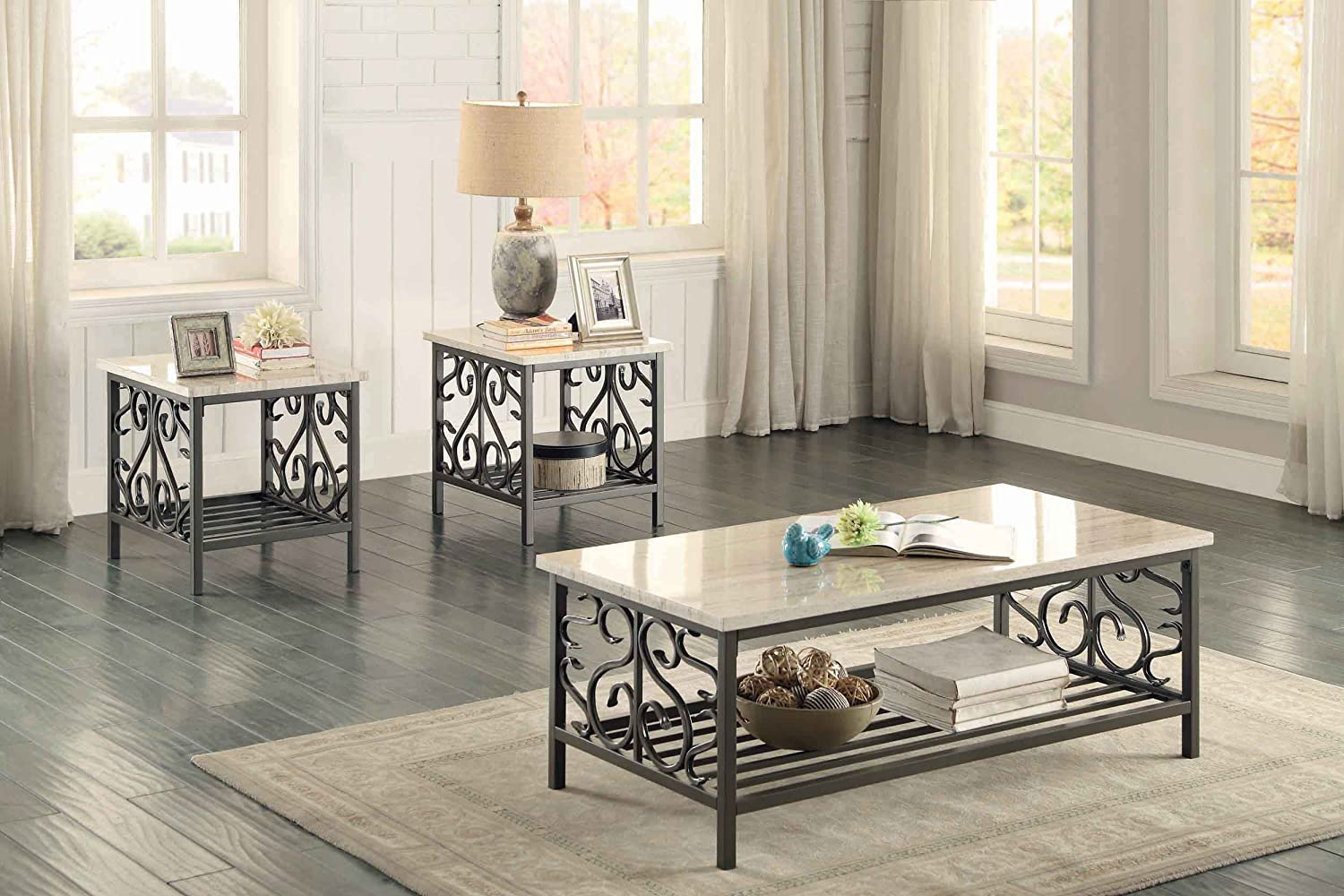 Captivating Amazon.com: Homelegance Fairhope 3 Piece Occasional Table Set With Metal  Frame And Faux Marble Top, Cream: Kitchen U0026 Dining