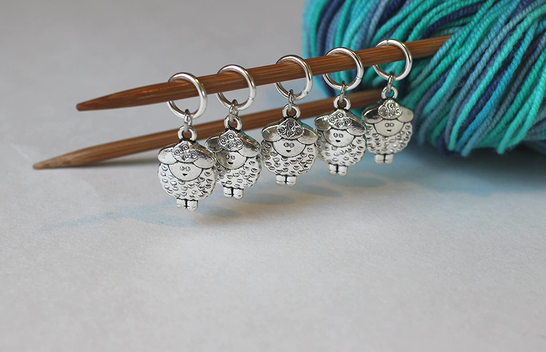 Progress Marker Set of 5 Rose Gold or Silver Rose Stitch Markers for Crochet WIP Marker Knitting Marker Removable Stitch Marker