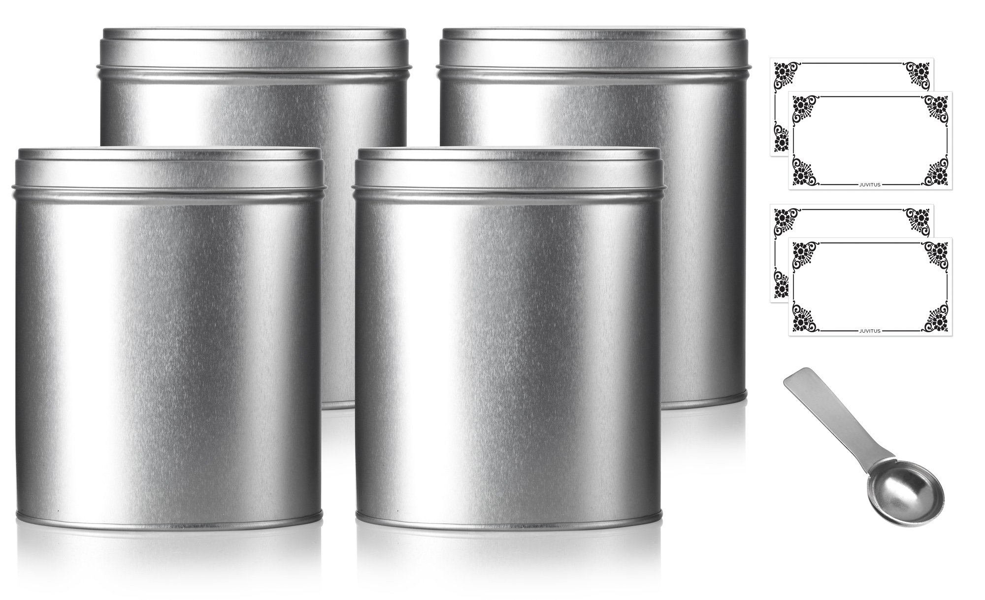 Oval Stackable Tea Tin Canister Containers 5.4'' (4 PACK) and Stainless Steel Metal Scoop Spoon + Labels, For Loose Leaf Tea, Coffee, Sugar Storage, Dried Herbs, Spices