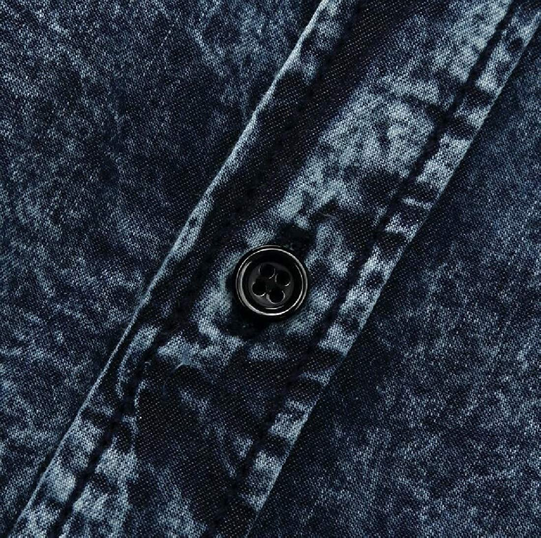 Vska Mens Short Sleeves Button Down Denim Turn-Down Collar Western Shirt