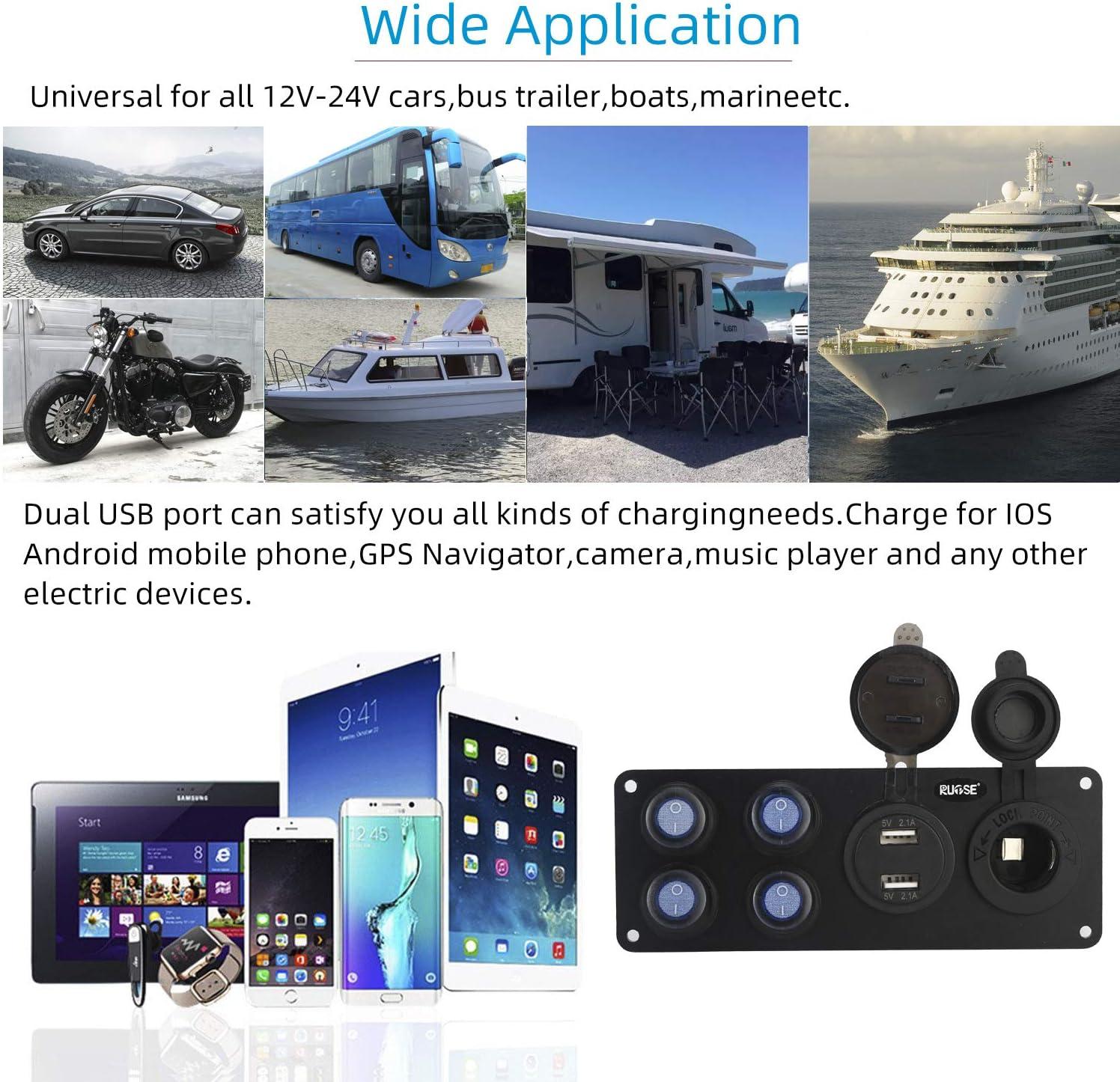 colore: nero Universal 12V Automobile Moto Piedistallo Auto Barca Moto Accendisigari Presa Presa Presa impermeabile