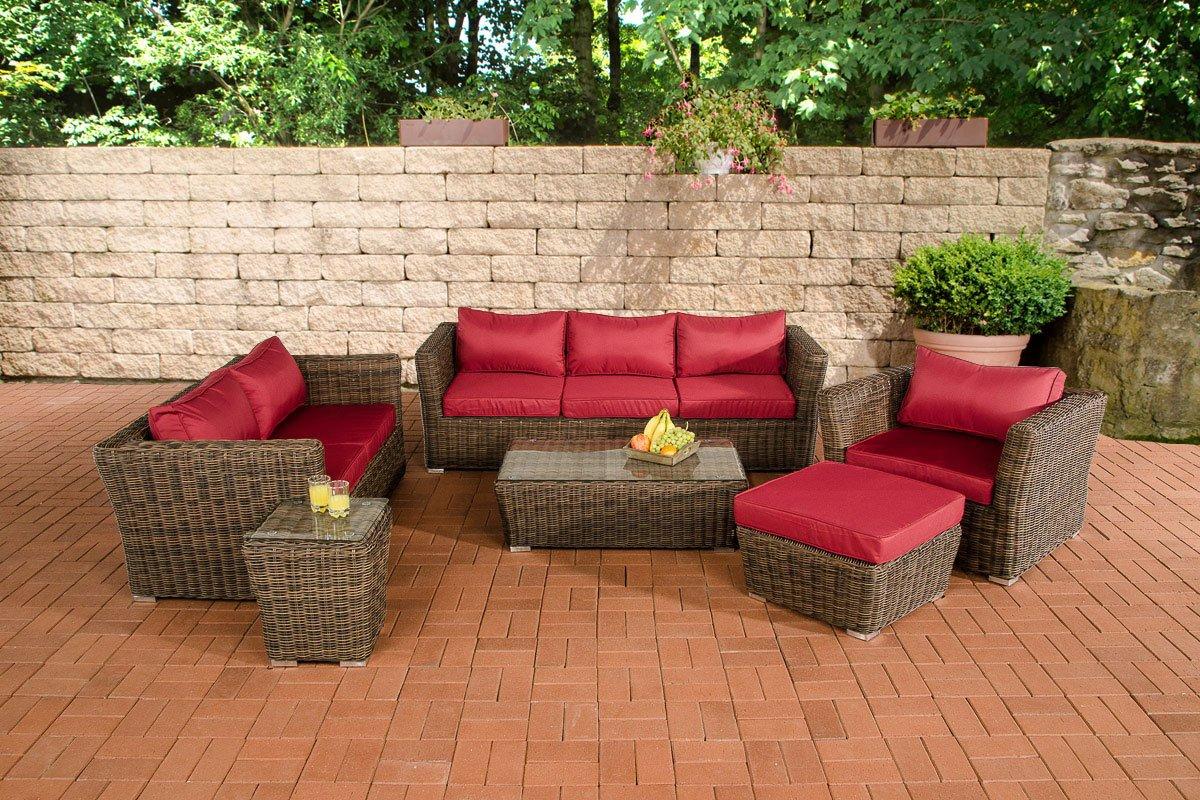 CLP Gartengarnitur MANDAL braun-meliert aus Polyrattan (6 Sitzplätze: 3-2-1) Premiumqualität (5 mm Rund-Rattan) inkl. Polstern & Kissen braun-meliert, Bezugfarbe Rubinrot