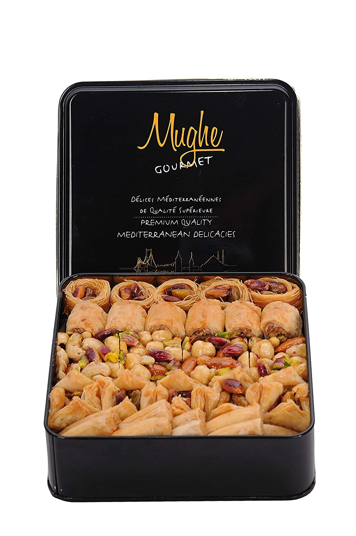 Luxury Baklava Assortment Pistachio Sweet, (Large Size) Hand Made Bakery appx. 52 pcs (DOUBLE LAYER), Bitesize Baklawa, Turkish Assortment Baclava Sweets, Gift Box 800g ℮ 1.76lbs, Mughe Gourmet
