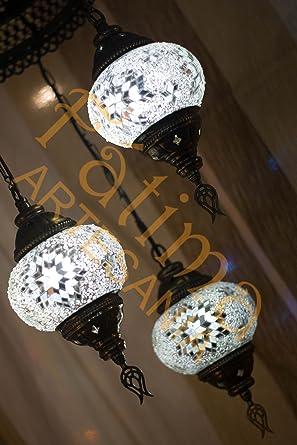 Lámpara turca mosaico de cristal de 3 bolas de techo (blanco ...