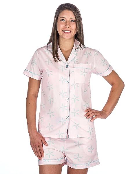 4a1c8f13d Womens 100% Cotton Poplin Short Pajama Set - Starlight Pink Aqua - S