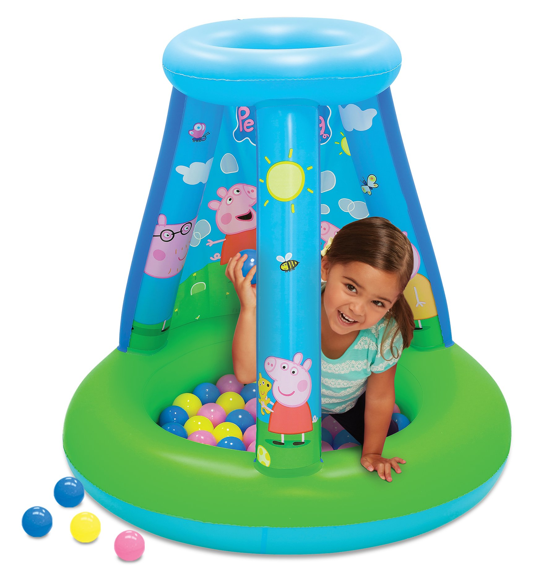 Peppa Pig Ball Pit, 1 Inflatable & 15 Sof-Flex Balls, Blue/Green, 28''W x 28''D x 33''H