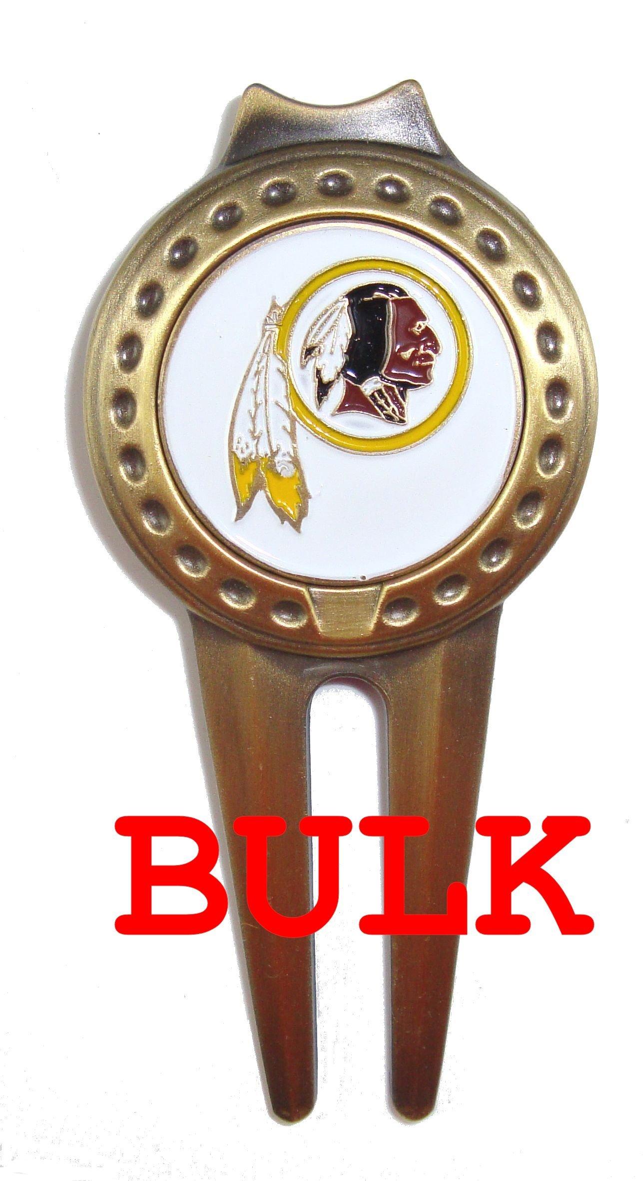 Bulk: 100 Washington Redskins Divot Tools with Golf Ball Markers