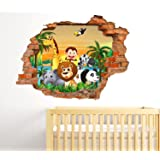 StickerDesign Adesivi Murali Bambini Effetto Buco nel Muro 3D Decorativo Fantasy Animali della Savana Foresta e Tramonto sul Mare Adesivo Murale Disegni Wall Stickers Decorazione Cameretta Nursery