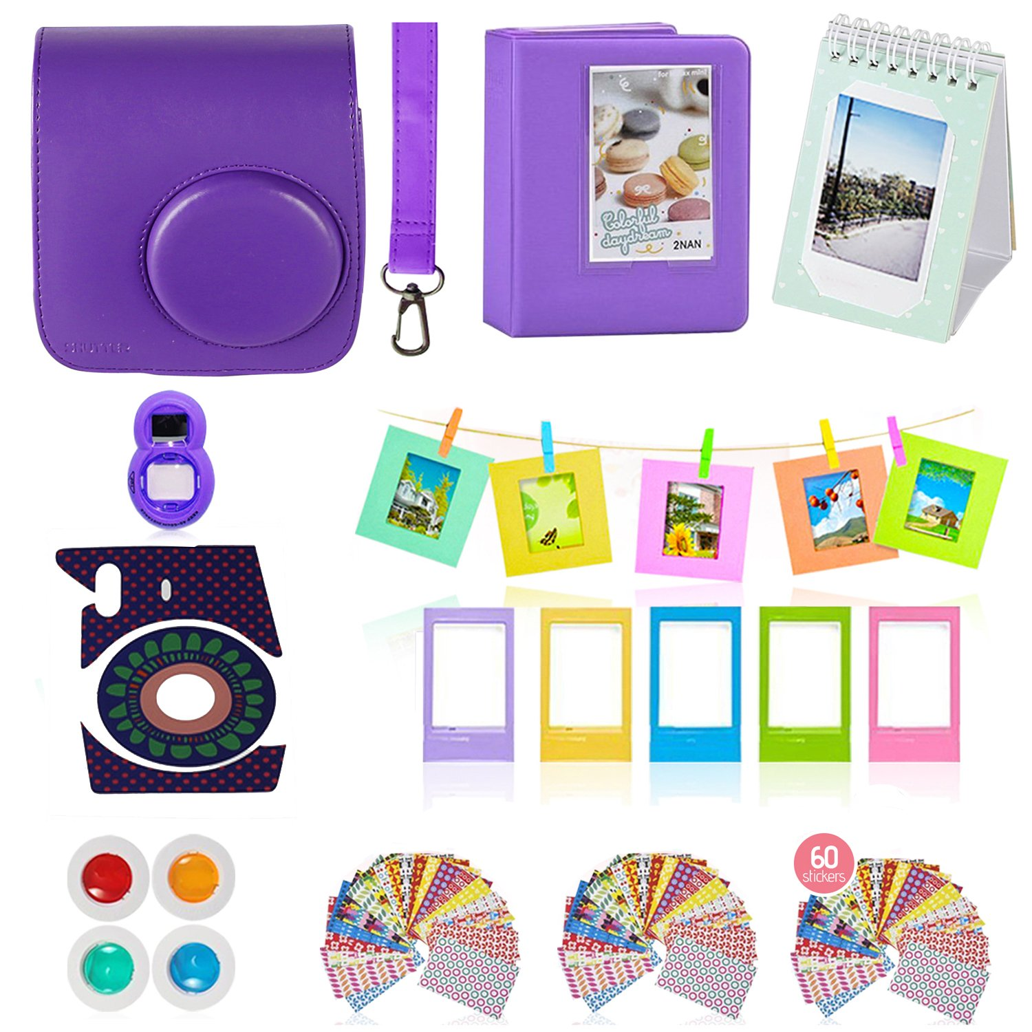 Fujifilm Instax Mini 9 or Mini 8 Instant Camera Accessories Bundle, 11 Piece Gift set Includes Instax Mini Case + Strap, 2 Photo Albums, Filters, Selfie lens, Hanging + Photo Frames, stickers & More. by Shutter