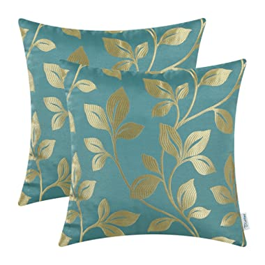 CaliTime Pack of 2 Soft Throw Pillow Covers Cases for Couch Sofa Home Decoration Cute Growing Leaves 18 X 18 inches Teal/Gold