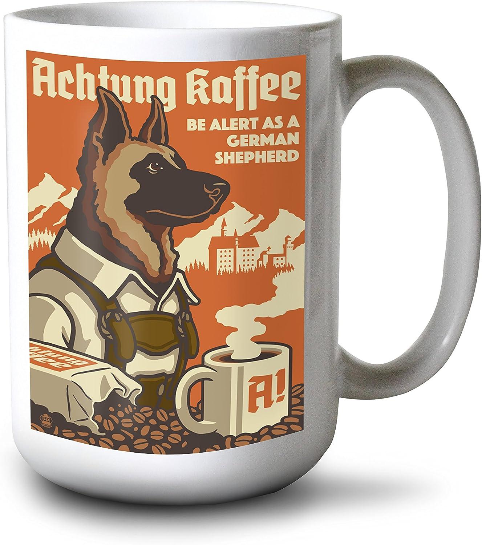 Lantern Press German Shepherd Retro Coffee Ad 15oz White Ceramic Mug Wall Art Amazon Com