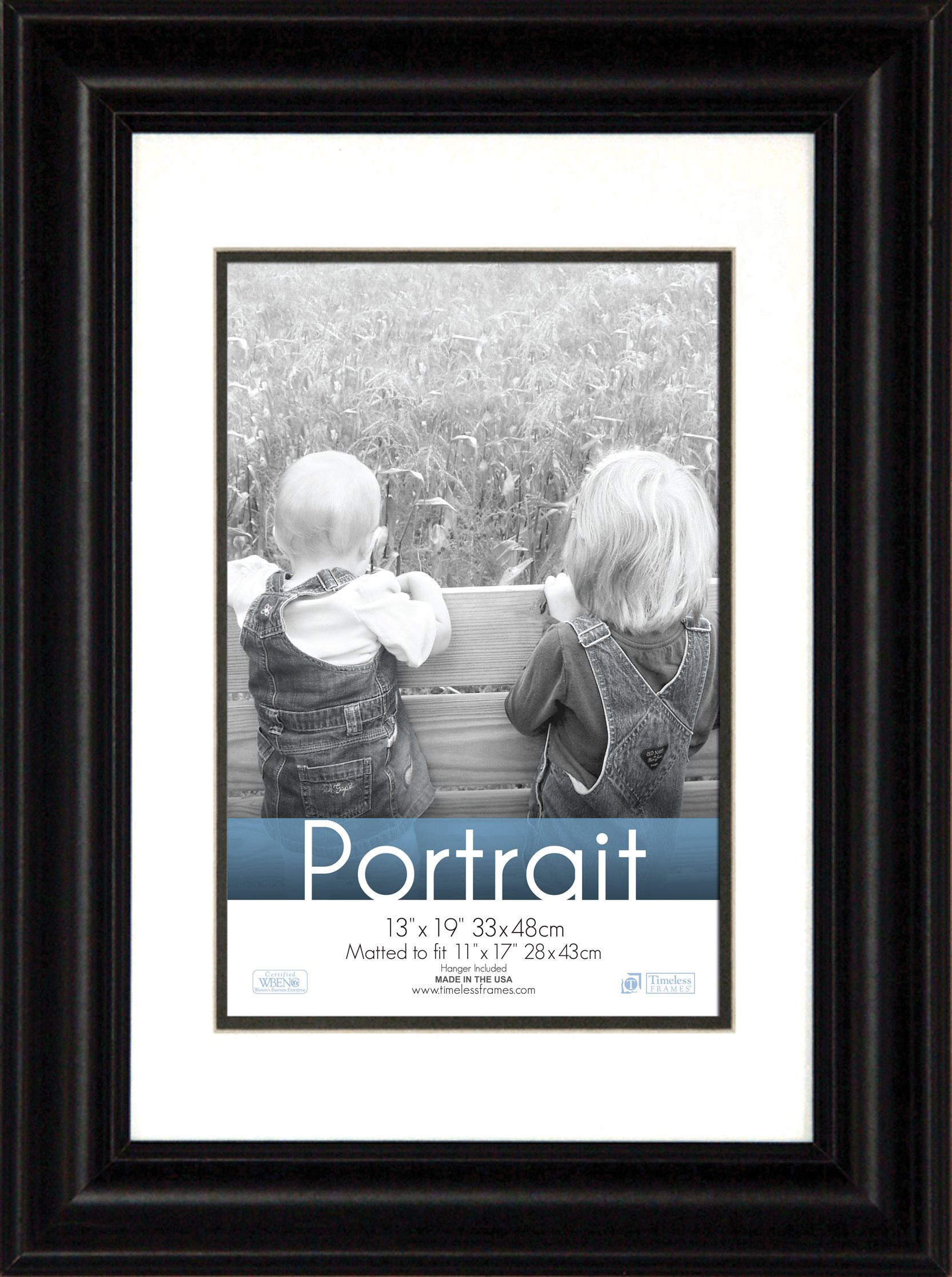 Timeless Frames 13x19 Inch Fits 11x17 Inch Photo Lauren Portrait Wall Frame, Black