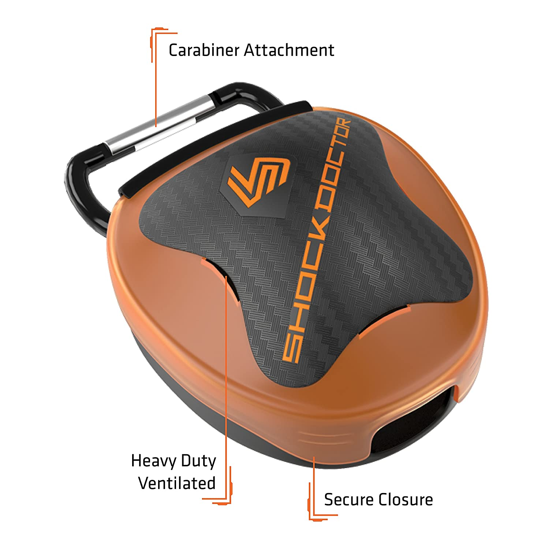 Shock Doctor Anti-Microbial Mouthguard Case - Mouth Guard Piece Box Orange 102C 14357