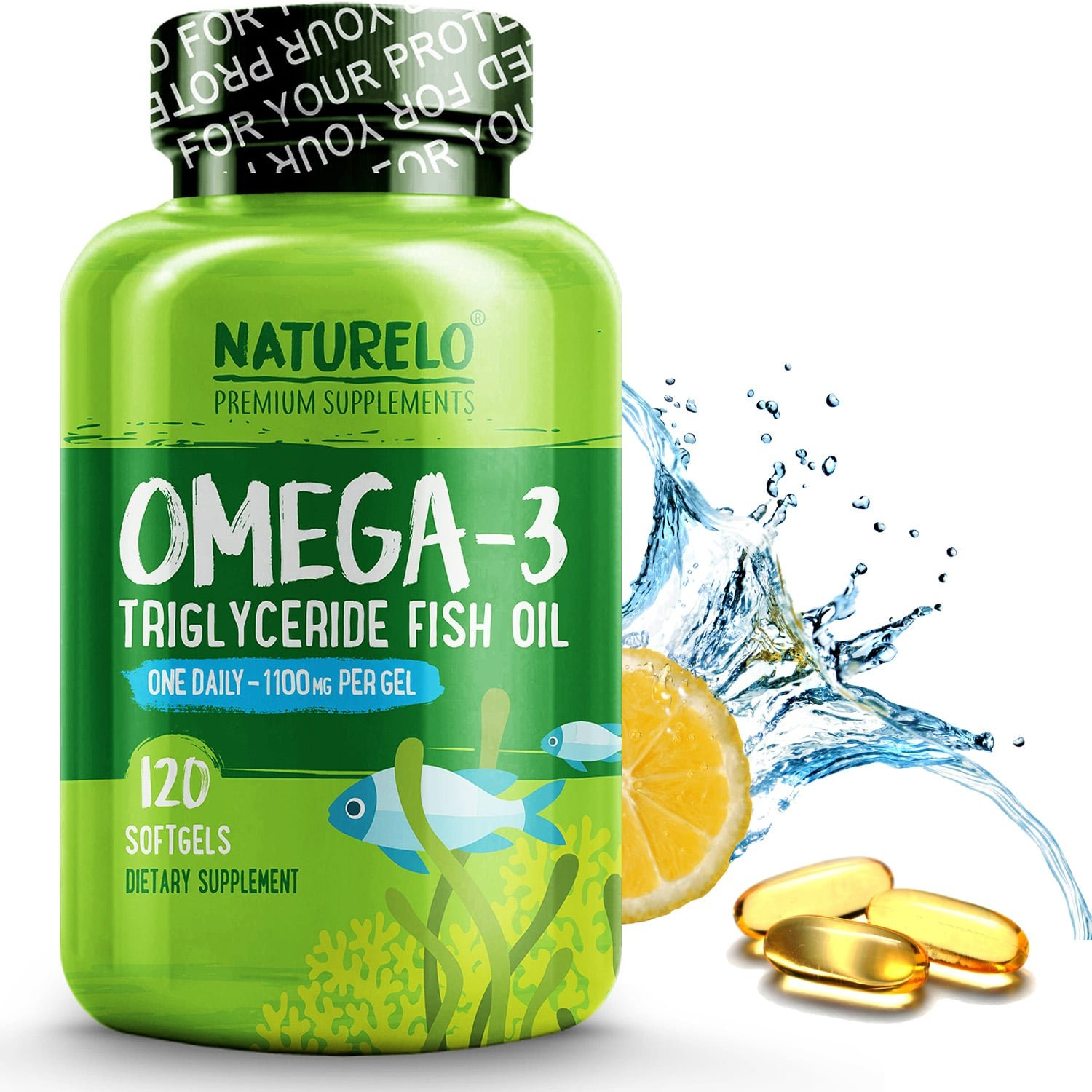 NATURELO Premium Fish Oil Supplement - 1100mg Triglyceride Omega-3 - One A Day - Best For Heart, Eye, Brain & Joint Health - 120 Softgels | 4 Month Supply