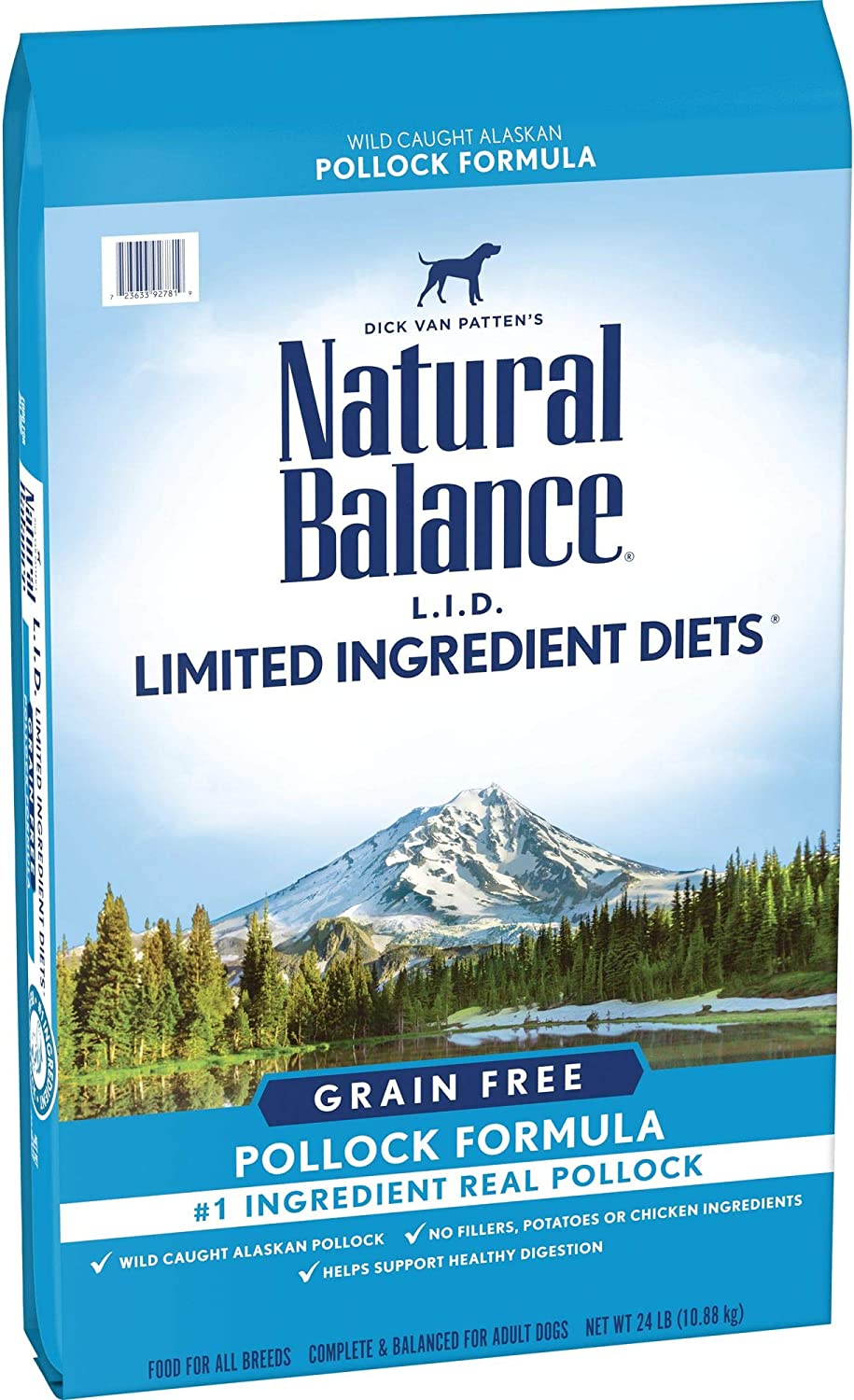 Natural Balance L.I.D. Limited Ingredient Diets High Protein Dry Dog Food, Pollock Formula, 24 Pounds, Grain Free