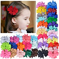 Coxeer Hair Bows, 40Pack Hair Bows For Baby Girl Alligator Clips Easter Basket Stuffers Grosgrain Ribbon Boutique Hair Accessories