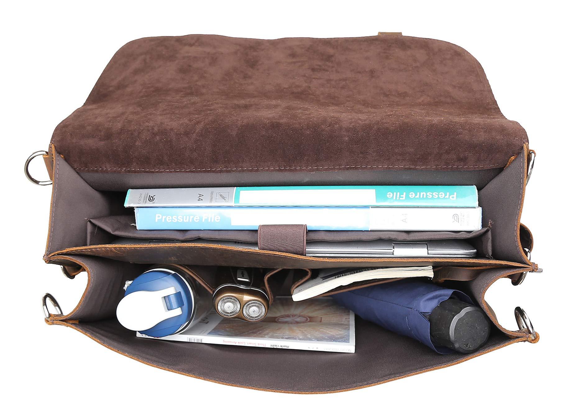 Polare Men's Full Grain Leather 16'' Laptop Briefcase Shoulder Messenger Bag by Polare (Image #8)
