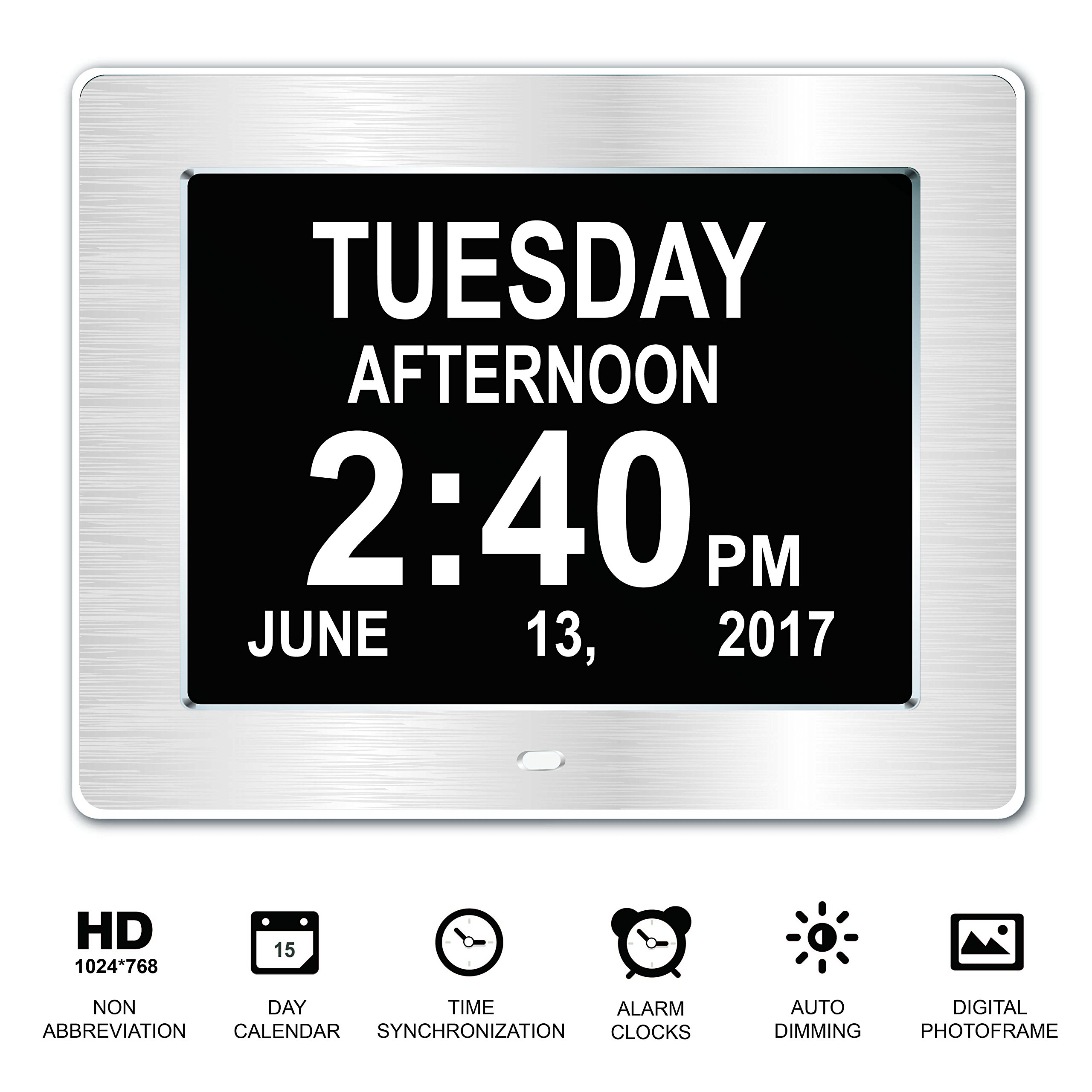 [New Version] Beslong Dementia Day Clock with 8 Alarms Digital Photo Frame Calendar for the Elderly (8 Inch, Silver Brush Frame)