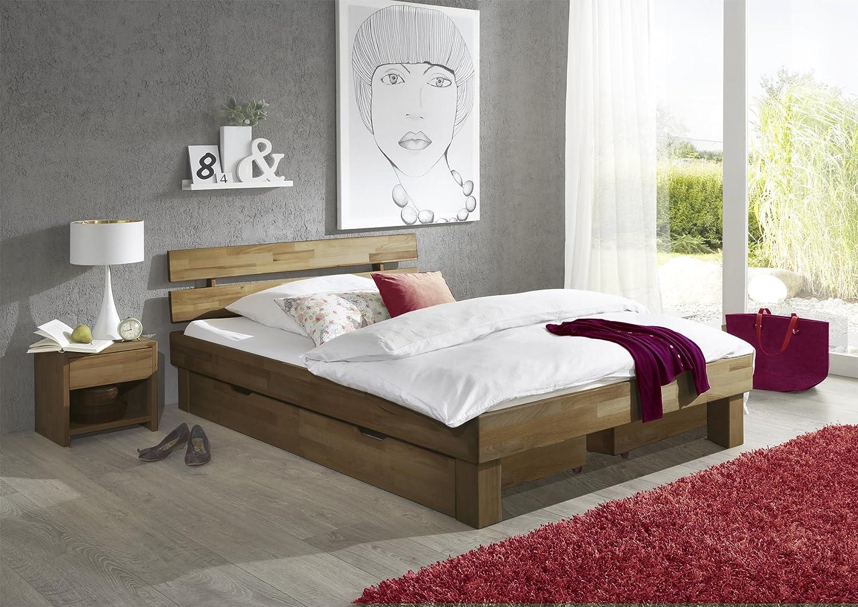 Futonbett Bett Jenny Eiche-Massiv Natur geölt, 180 x 200 cm inkl. 2 x Bettkasten und 2 x Nachtkonsole