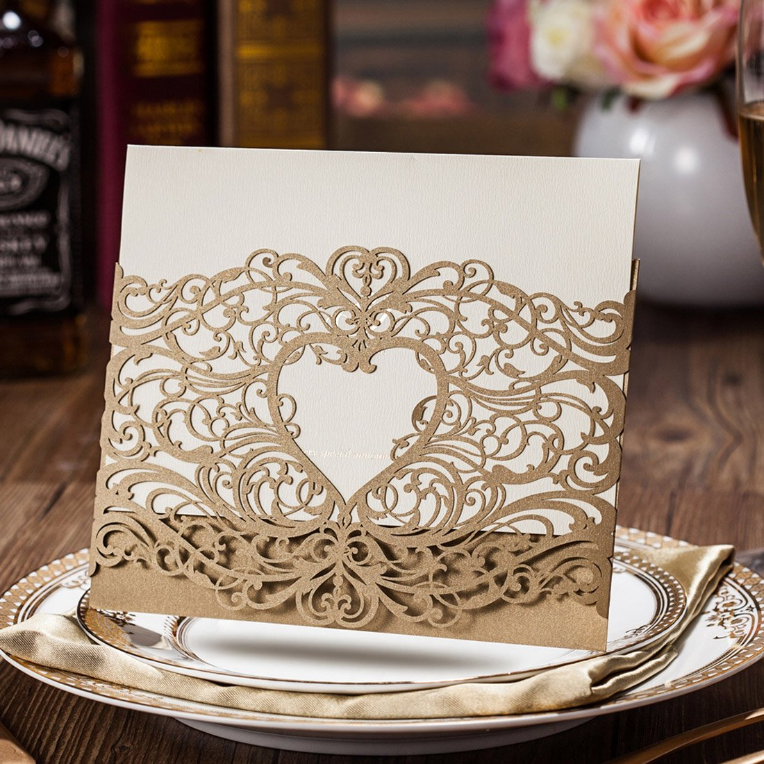 Amazon.com: WISHMADE Laser Cut Invitations Cards Sets Gold 50 Pieces ...
