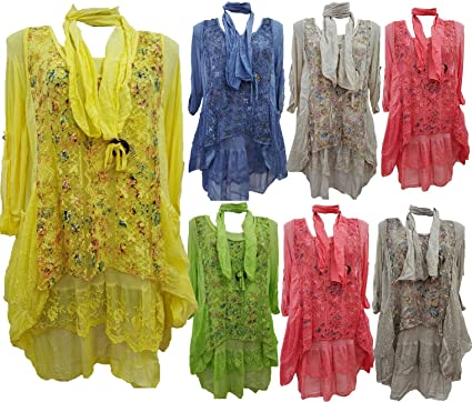 73b6875c9e3 Womens Italian Lagenlook Sequins Floral Cotton Tunic Dress Top Free Scarf:  Amazon.co.uk: Clothing