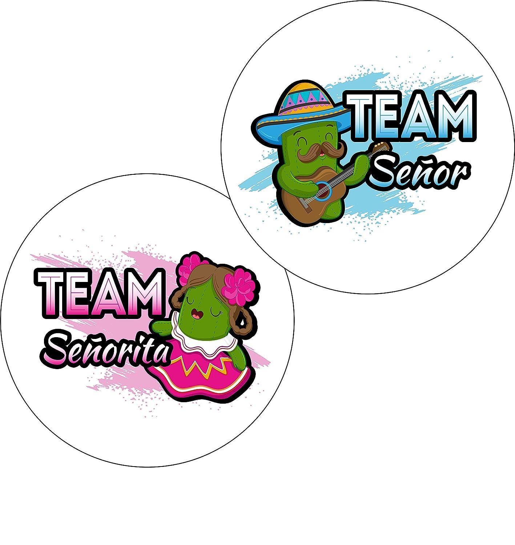 Senor Or Senorita Gender Reveal Stickers Party Supplies Fiesta Baby Shower Decorations Team Senor Team Senorita Voting Matte Stickers 24 Pack