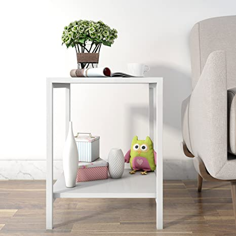 Tavolino Fianco Divano.Lifewit Tavolino Quadrato Moderno Al Fianco Divano Giardino Caffe Te Salotto Side Table Nightstand Due Piani Bianco