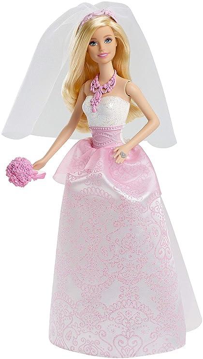Barbie Poupée Mariée En Robe De Mariage Blanche Et Rose Avec Son Voile Et Un Bouquet Jouet Pour Enfant Cff37