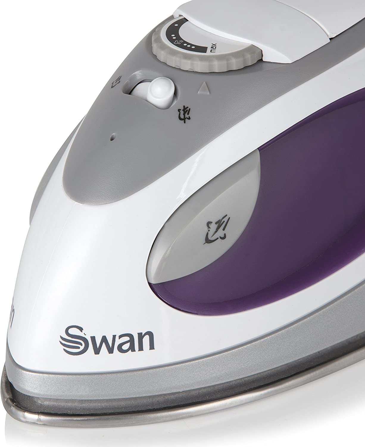 Swan SI3070N Compact Fast Heat up Steam Travel Iron with Pouch and Beaker Purple Variable Temperature Control 900W